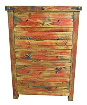 Rustic Western Red Rubbed Chest of Drawers, Real Wood Dresser