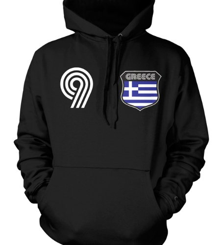 Greece Crest Retro International Soccer Sweatshirt, Greek Hellenic Pride Mens Hoodie