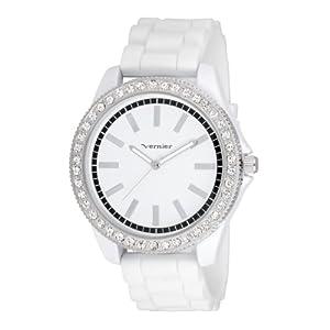 Vernier Women's VNR11087WT Oversized Sparkle Silicon Strap Quartz Watch
