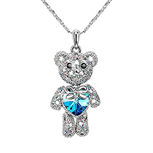 "T400 Jewelers ""Teddy Bear"" Swarovski Elements Crystal Pendant Necklace Kids Gift, 15""+2"""