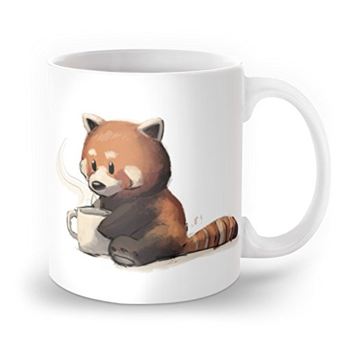 Red Panda Drinking Coffee Mug 11 oz