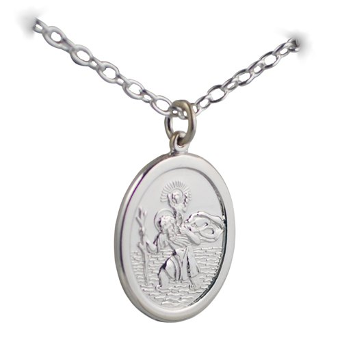 Silver 30x21mm oval St Christopher with Cable link chain 24 inches