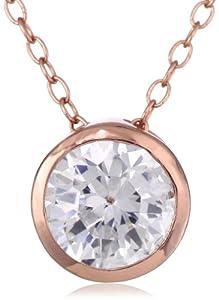 "Rose Goldtone Finish Silver Round-Cut Cubic Zirconia Stud Pendant Necklace, 18"""