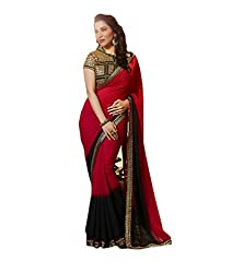 Latest Wize Stylish Red Color Shaded Georgette Embroidered Saree