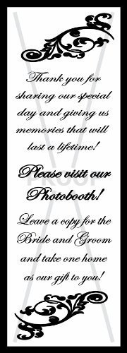 Photo Booth Frame Inserts / Table Reminders Black 2x6 (100 Pack) by Photo Booth Nook