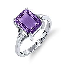 buy 2.25 Ct Octagon Purple Amethyst 14K White Gold Ring