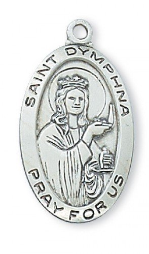 "Solid .925 Sterling Silver St. Saint Dymphna 7/8"" X 1/2"" W/18"" Chain Pendant W/24"" Chain"