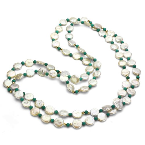 10-10.5mm White Coin Freshwater Cultured Pearl 4mm Round Simulated Magnesite Endless Necklace, 48""