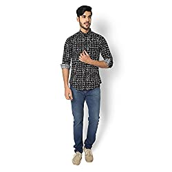 STRAK Mens' Pure Cotton Grassy Black Abstract Designer Boat Curve Style Shirt With Full Sleeve Size:-M/40