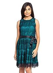 Femninora Women's Dress(Fem-Drs-016L_Green::Black_Large)