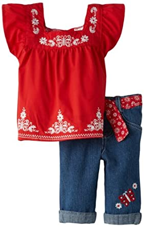 Young Hearts Baby-Girls Infant 2 Piece Butterfly Denim Capri Set, Medium Red, 12 Months