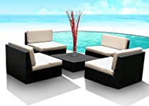 Big Sale Outdoor Patio PE Resin Wicker Furniture All Weather 5pc Vila Deep Seating New Sectional Sofa Set