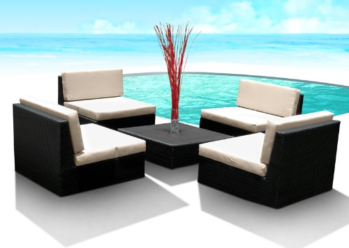 Outdoor Patio Furniture Wicker Sofa Sectional 5pc Resin Couch Set photo