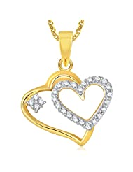 Meenaz Gold Plated Heart Pendant With Chain For Girls And Women PS388