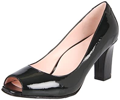Taryn Rose Women's Fierce Open-Toe Pump,Black Crinkle Patent,6 M US