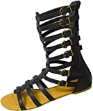 Shoes8teen Women's Studded Flat Knee high Gladiator Sandals