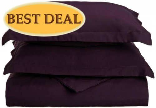 Clara Clark 1200 Grand Series 3 Pc Solid Duvet Cover (Button Closure) - King, Purple Eggplant - 104 X 90 Inches - Includes 2 Pillow Shams - More Soft Comfortable And Breathable Than Cotton front-350461