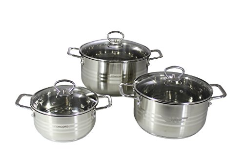 CONCORD 6 Piece Stainless Steel Cookware Set (Induction Compatible) (Concord Induction compare prices)