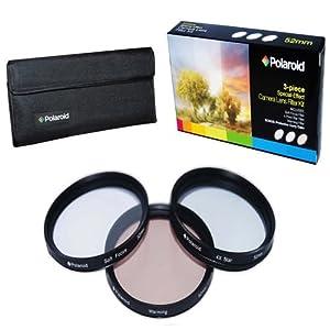Polaroid Optics 55mm 3 Piece Special Effect Camera/Camcorder Lens Filter Kit (Soft Focus, Revolving 4 Point Star, Warming)
