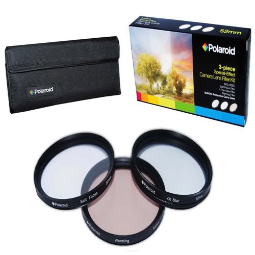 Polaroid Optics 49mm 3 Piece Special Effect Camera/Camcorder Lens Filter Kit (Soft Focus, Revolving 4 Point Star, Warming)