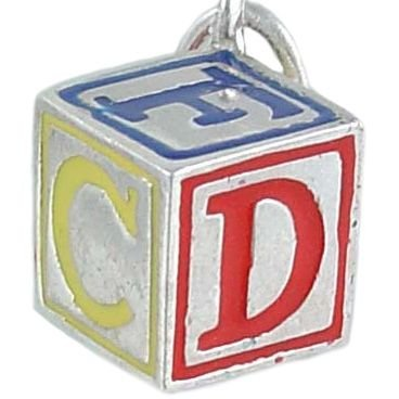 ABC Child's Toy Baby Block 925 Sterling Silver and Enamel Traditional Charm
