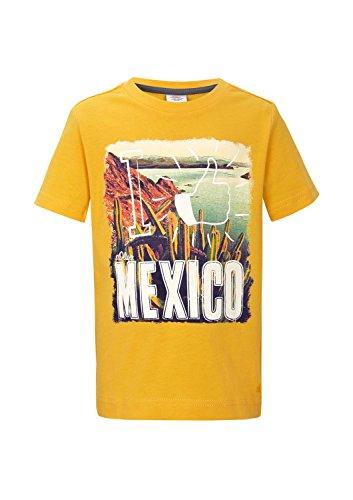 s.Oliver Jungen T-Shirt 63.503.32.2252, mit Print, Gr. 104 (Herstellergröße: 104/110), Gelb (yellow 1392)