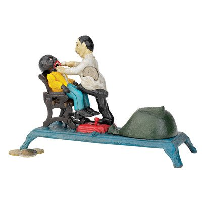 Design Toscano SP463 The Dentist Chair: Pulling Teeth Collectors' Die-Cast Iron Mechanical Coin Bank