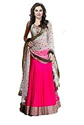 Ishin Georgette Net Party Wear Embellished Pink & White Lehenga