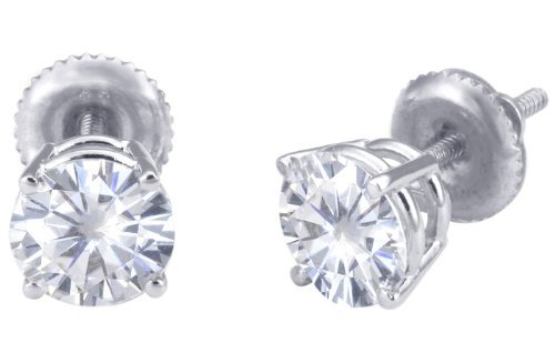 Spectacular! 18k White-gold Pair 6.00mm each (1.5 CT TW) Round Moissanite Stud Earings by Vicky K Designs