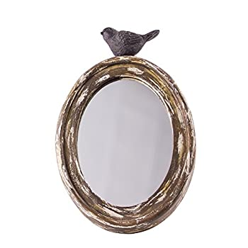 Rustic Chick Wood Oval Mirror with Bird - 10""