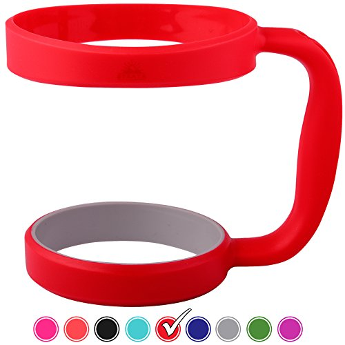 RED 30oz Tumbler Handle For YETI tumbler, RTIC, OZARK trail tumbler, SIC, STRATA,and Other Ramblers Cups - No Slip Grip - BPA FREE