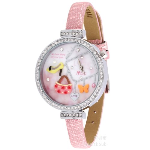 Ufingo-Ladies/Girls/Women Wrist Watch-Pink Leather Strap Rhinestone Edge Love Story Theme Dial
