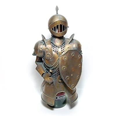 """Metal Medieval Knight Armor with Sword Bottle Cover, Wine Holder, 12.5"""" Tall"""