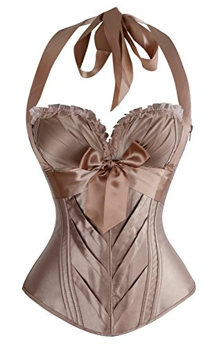 Charmian Women's Burlesque Vintage Fashion Classic Satin Halter Bustier Corset Top with Zipper Champagne Large