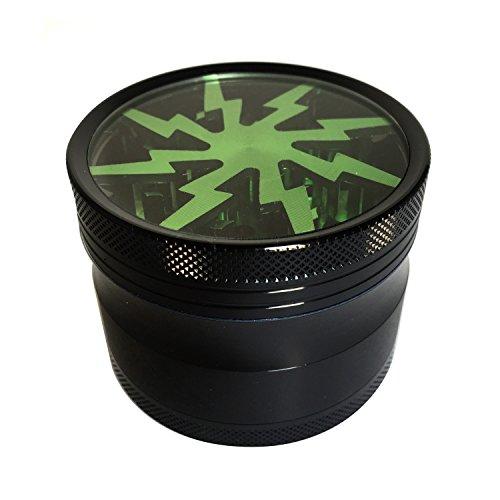 Stylish-Lightning-Herb-Grinder-with-Pollen-Catcher-Brush-and-Scraper-4-Piece-25-Premium-Grade-Aluminum-Durable-Light-Green
