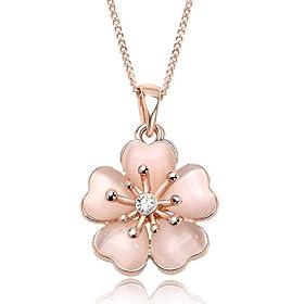IUHA★18Kピンクゴールドメッキ 上品な淡いピンク桜ネックレス★オーストリア産のCZダイヤモンド