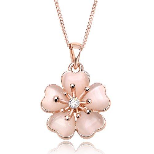 IUHA 18Kピンクゴールドメッキ 上品な淡いピンク桜ネックレス オーストリア産のCZダイヤモンド