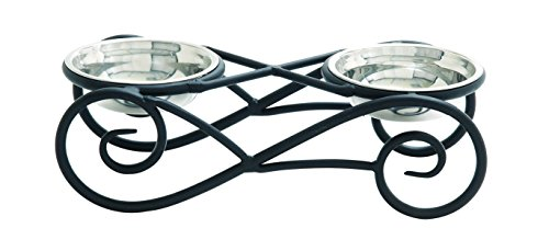 Benzara Steel Pet Bowls, Black Metal