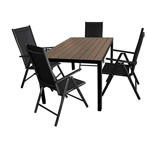 5tlg-Gartengarnitur-Aluminium-Gartentisch-150x90cm-mit-Polywood-Tischplatte-Hochlehner-mit-2x2-Textilenbespannung-7-Pos-verstellbar