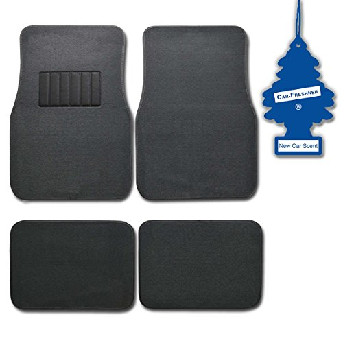 bdk-charcoal-4-pc-universal-carpet-car-mats-w-heel-pad-little-tree-new-car