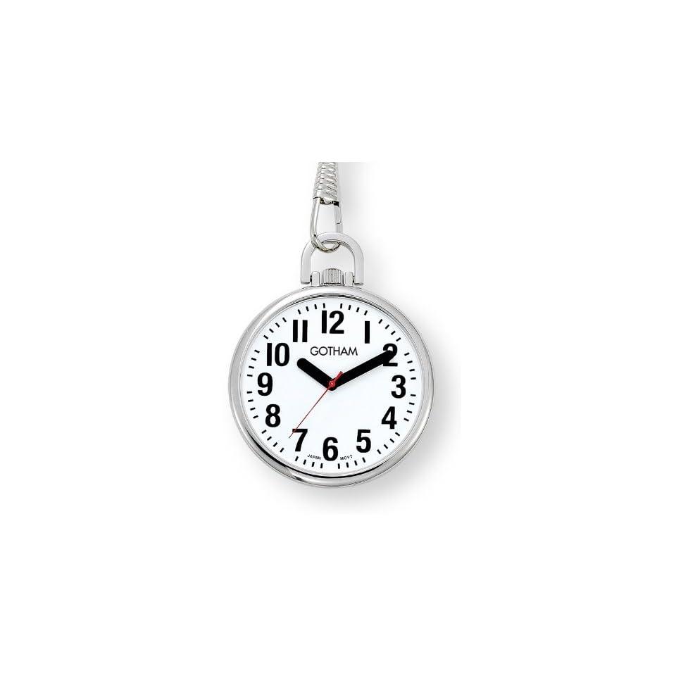 Gotham Mens Silver Tone Ultra Thin Bold Number Open Face Quartz Pocket Watch # GWC15033S