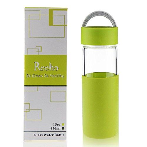 Reeho® 携帯用耐熱ガラス製ティーボトル 水筒 お茶のボトル, シリコー...
