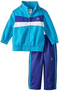 Russell Athletics - Kids Girls 2-6X Brushed Tricot Set with Chest Piecing, Atomic Blue, 3T