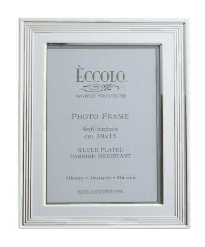 Eccolo World Traveler Art Deco Silver Plated Frame, Holds a 4 x 6-Inch Photo