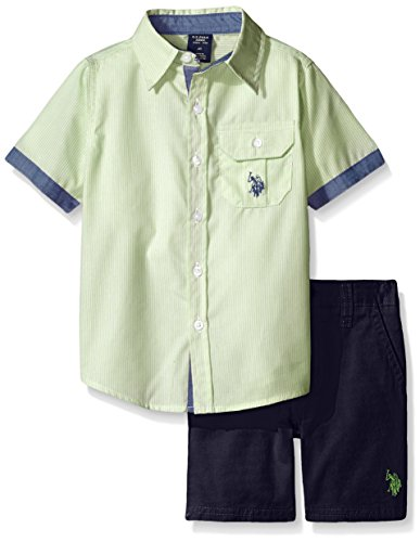 U.S. Polo Assn. Big Boys 2 Piece Pin Stripe Short Sleeve Shirt and Twill Short, Summer Lime, 10 (Big Boy compare prices)
