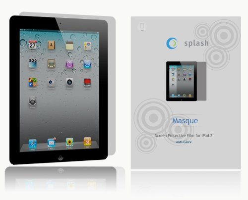 splash Masque Screen Protector Film Matte Clear (Anti-Glare) for Apple iPad 2 2nd Generation (3-Pack) NEWEST MODEL