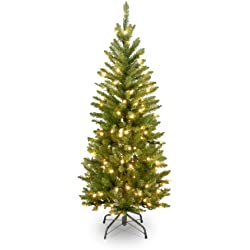 National Tree 4-1/2-Foot Prelit Artificial Kingswood Fir Pencil Tree, 150 Clear Lights