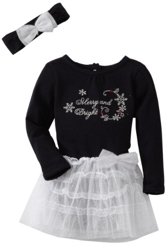 Vitamins Baby-Girls Infant 2 Piece Merry And Bright Dress Set, Black, 12 Months back-868621