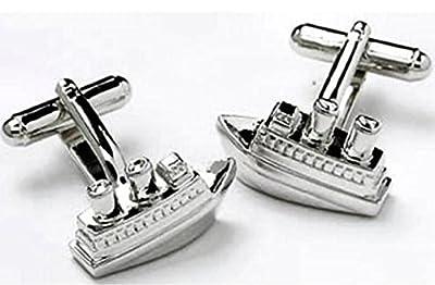 Silver Sail Boat Cruise Ocean Cufflinks