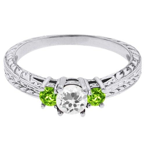 0.57 Ct Round White Topaz Green Peridot 18K White Gold 3-Stone Ring